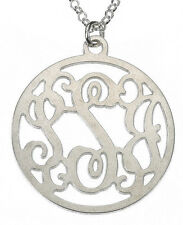 """Personalized Silver  925  Circle Monogram Necklace-  1"""""""