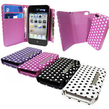 Stylish Polka Dot Wallet Case with Magnetic Detachable Hard Case 2 in 1