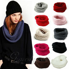 Cute Fashion Cable Knit Women Winter Warm Infinity Cowl Neck Long Scarf Shawl