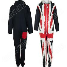 New Boys Girls Kids UK Flag Union Jack Onesie Fleece Hoodie All In One Jumpsuit