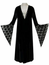 Sexy Black Velvet Lace-up Dress Witch Costume Gothic Mini, Petite or Extra Tall