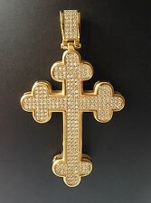 Stainless steel/steel gold plated Micro Pave Cross Pendant  Hip-Hop Style