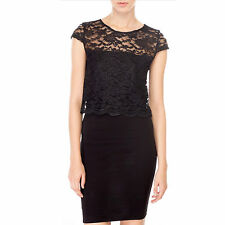 New black cap sleeves sheer back coated lace crop top