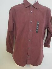 BANANA REPUBLIC Men's Burgundy Checker Plaid Button Down Shirt Size S & M NWT
