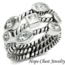STACKABLE RINGS - Bezel Setting Rope Band 3 Ring Set - SIZE 5 - 10