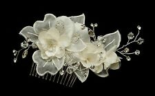 White or Ivory Organza Flower Crystal Spray Bridal Wedding Hair Comb Accessory