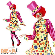 Clown Dress + Tights + Hat Ladies Circus Fancy Dress Womens Fun Costume Outfit