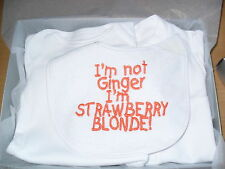 Personalised Baby Clothes Bibs vests  babygrow  gift set im not ginger im