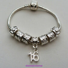 Silver Plated Birthday Age Number Love Clasp Snake Chain Charm Beads Bracelet