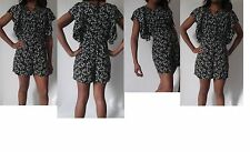 women ladies black blue red pleated floral print batwing playsuit uk size 8