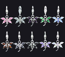 Silver Plated Rhinestone Butterfly Dangle Clip On Charm Fits Link Chain Bracelet