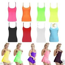 New Ladies Casual Neon Vest Top  Stretchy Lycra Racer Tops Fancy Dress Size 8-16