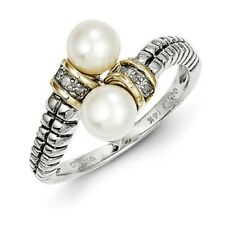 SS 14k 0.03ct Gold 6mm FW Cult. Pearl & 03ct Dia By-Pass Vintage Ring /Met Wt-3g