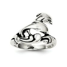 SS Antiqued Dolphin Ring. Metal Wt- 4.091g