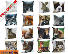 Bene Domo 18 x 18 100% Cotton Cushion Cover Animal Wild Nature Wolf Dog Rabbit
