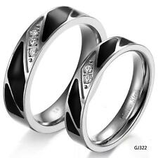 New Fashion stainless steel Couple Rings crystal bands Promise Love hoop Wedding