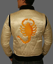 Drive Scorpion Satin Ivory and Black Fitted Ryan Gosling Movie Jacket