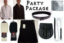 Fun - Party Package, Scottish Kilt, Casual Outfit, Black Tartan