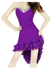 Bling Rhinestone Short Strapless Tail Cocktail Clubwear Evening Dress