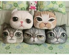 Round 3D Kitty Cat Face Cushion Pet Shape Pillow Home Decoration Gift Flannel