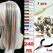 Women Girl Grizzly Feathers Hair Extensions Wits Beads, Hook & Plier Tool Kits