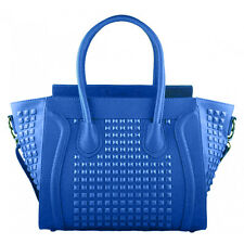 Ladies Vintage Large Celebrity Designer Leather Style Tote Smile Hand Bag Blue
