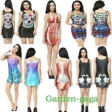 /(*_~)\ Funky OWL Muscle Galaxy Digital Print Cocktails Party Dress Vests Top