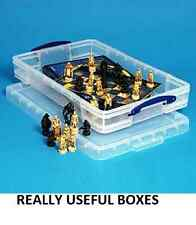 REALLY USEFUL LARGE 20L STORAGE BOX CLIP SECURE LID- UNDER BED BEAD DISPLAY BOX