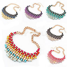 Bohemian Lady Bubble Bib Hot Party Statement Colorful Weave Ribbon Necklace