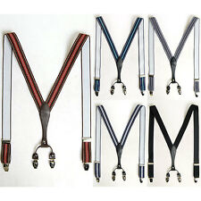 "Mens Elastic Faux Leather Suspenders Y-Back Adjustable Braces Clip-On 1.2"" Width"