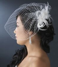 White Ivory Twin Feather Flower Fascinator Bridal Clip Russian Style Cage Veil