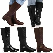 New Womens Ladies Knee High Wide-Calf Buckle Detail Zip Up Boots Shoes Size