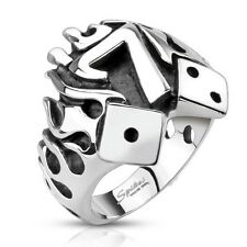 Men's 316 L Stainless Steel Flames Lucky 7 Ring Biker Jewelry