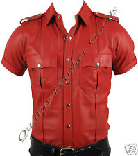 GENUINE LEATHER RED/ RED & BLACK MENS POLICE MILITARY UNIFORM SHIRT WITH PATCH
