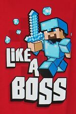 Boys Minecraft Like a Boss T-shirt L XL red Officially Licensed JINX J!NX Mojang