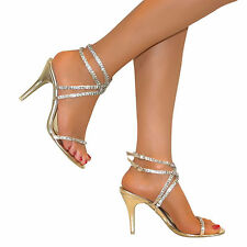 WOMENS GOLD GLITTER DIAMANTE ANKLE STRAPPY SANDALS SHOES STILETTO HEEL PARTY