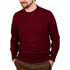 HAWICK KNITWEAR 100% Cashmere Mens Jumper Claret Red Made in Scotland HS704