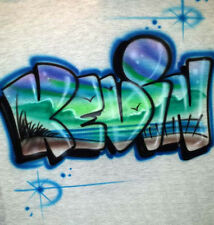 Custom Painted Beach Scene Inside ANY Name Airbrushed 100% Cotton Unisex T-Shirt
