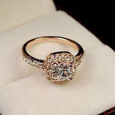 Size 6-9 Available 18K Rose gold GP  Crystal Engagement Wedding Ring