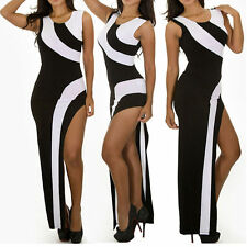 Brightly Maxi Dress High-End Exposed Side Contrast Color Black&White Sleeveless