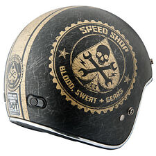NEW SPEED AND STRENGTH SS600 SPEED SHOP 3/4 MATTE BLACK GOLD HELMET MOTORCYCLE