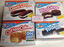 TWO Drakes Cakes  Ring DINGS Yodels DEVIL DOGS Coffee  cakes
