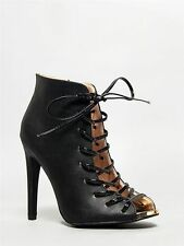 Interest Lady Vamp Lace Up Gladiator Heels