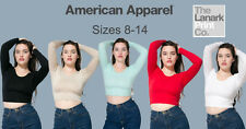 American Apparel Long Sleeve Cotton Spandex Crop Top AA042 Gym Fitness Yoga
