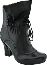 Earthies Womens Eleganza Black Silky Leather Ankle Boots