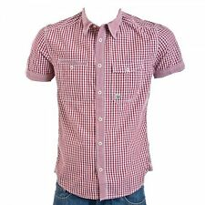 Mens Designer Stylish Duck And Cover Fintan Short Sleeve Shirt In Mars Red