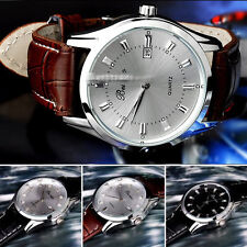 Classic Men's Casual Quartz electronic Stainless Steel Leather Wrist Watch WXF