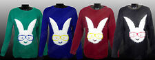 NEW LADIES WOMENS LONG SLEEVE GEEK RABBIT FLUFFY MOTIF KNITTED JUMPERS TOP S-XL