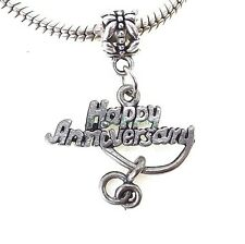Happy Anniversary European Dangle Charm His and Her Rings for Charm Bracelet