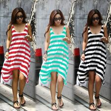 Women Boho Bohemian Neck Stripes Summer Beach Long Cocktail Evening Maxi Dress